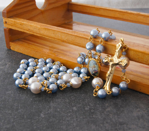 Blue pearl baptism rosary