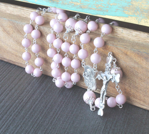Catholic womans rosary prayer beads, Swarovski pink pearls