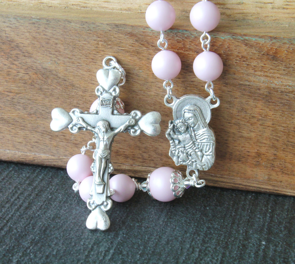 Mother and Child Catholic rosary, pink pearls