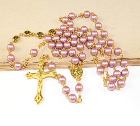 Add a Name Rosary, Swarovski Pearls, Gold Name