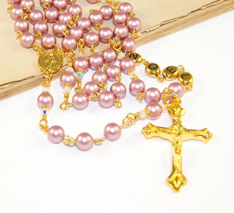 Pink personalised rosary beads, made in New Zealand