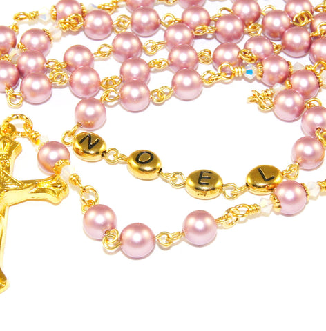 Customized rosary beads, pink pearls, gold letters