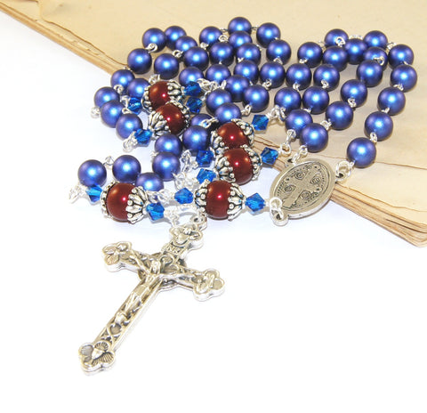 Saint Benedict rosary, blue and red, New Zealand made
