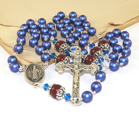 Eucharist rosary, Swarovsii pearls, blue and red