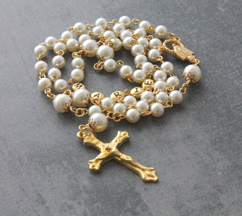 1st communion rosary, cream gold pearls with name