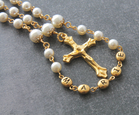 Personalized Rosary, Cream Swarovski Pearls, Gold Letter Beads