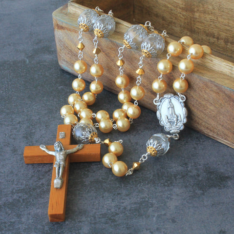 Large gold pearl womens rosary, New Zealand Catholic