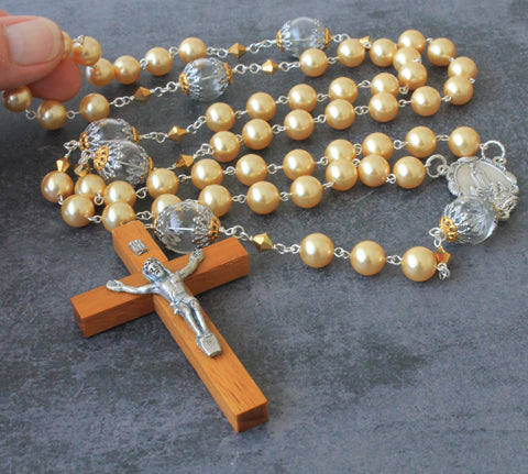 Gold Swarovski Pearl Women's Rosary, Unique Large Size