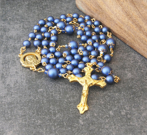 Brigittine Rosary, 6 Decades, Gold with Blue Swarovski Pearls