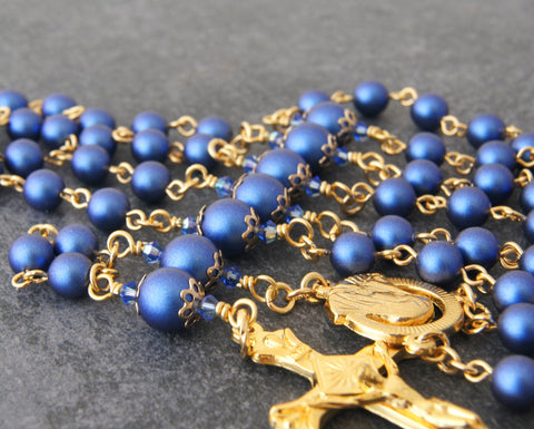 Six decade Catholic rosary, blue pearls linked with gold wire, handmade