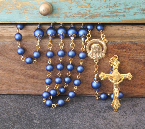 Carmelite rosary, 6 decades blue & gold, handmade in New Zealand