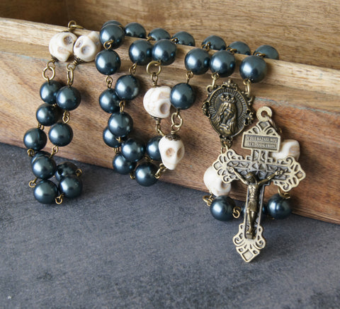 Memento Mori Rosary, Swarovski Pearls & Howlite Skulls - Remember You Are Mortal