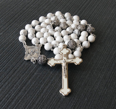 Presentation rosary, large white stone pewter beads, handmade