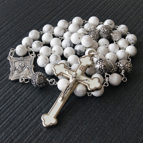 White Stone Madonna Rosary, Large Size for Prayer, Wall Display or Presentation