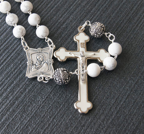 White astone rosary, big beads, madonna center