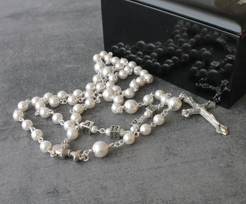 Name rosary, Swarovski pearls, New Zealand made