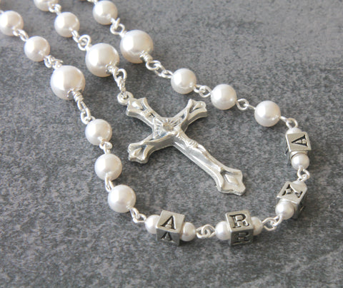 Personalised Rosary, White Swarovski Pearl First Communion Rosary Beads