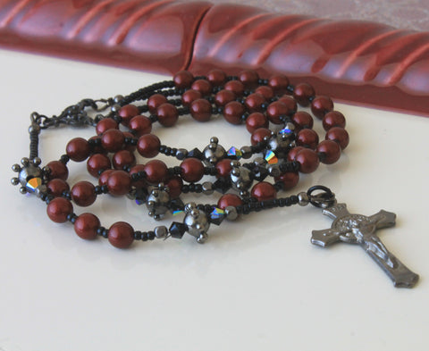 Renaissance Style Rosary, Maroon Pearls, Gothic Design