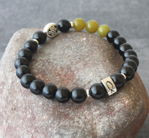 Christian Bracelet, Ichthus & Celtic Symbols with Gemstone Beads, Men or Women