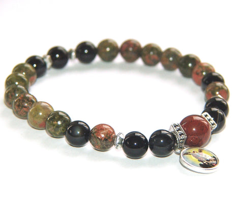 St Michael Stretch Bracelet, Man's Bracelet in Jasper