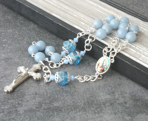 Beads of Saint Ann chaplet rosary, blue angel stone beads, NZ made