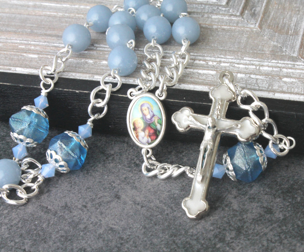 St Anne chaplet, Mothers prayer beads, angelite blue gemstone beads