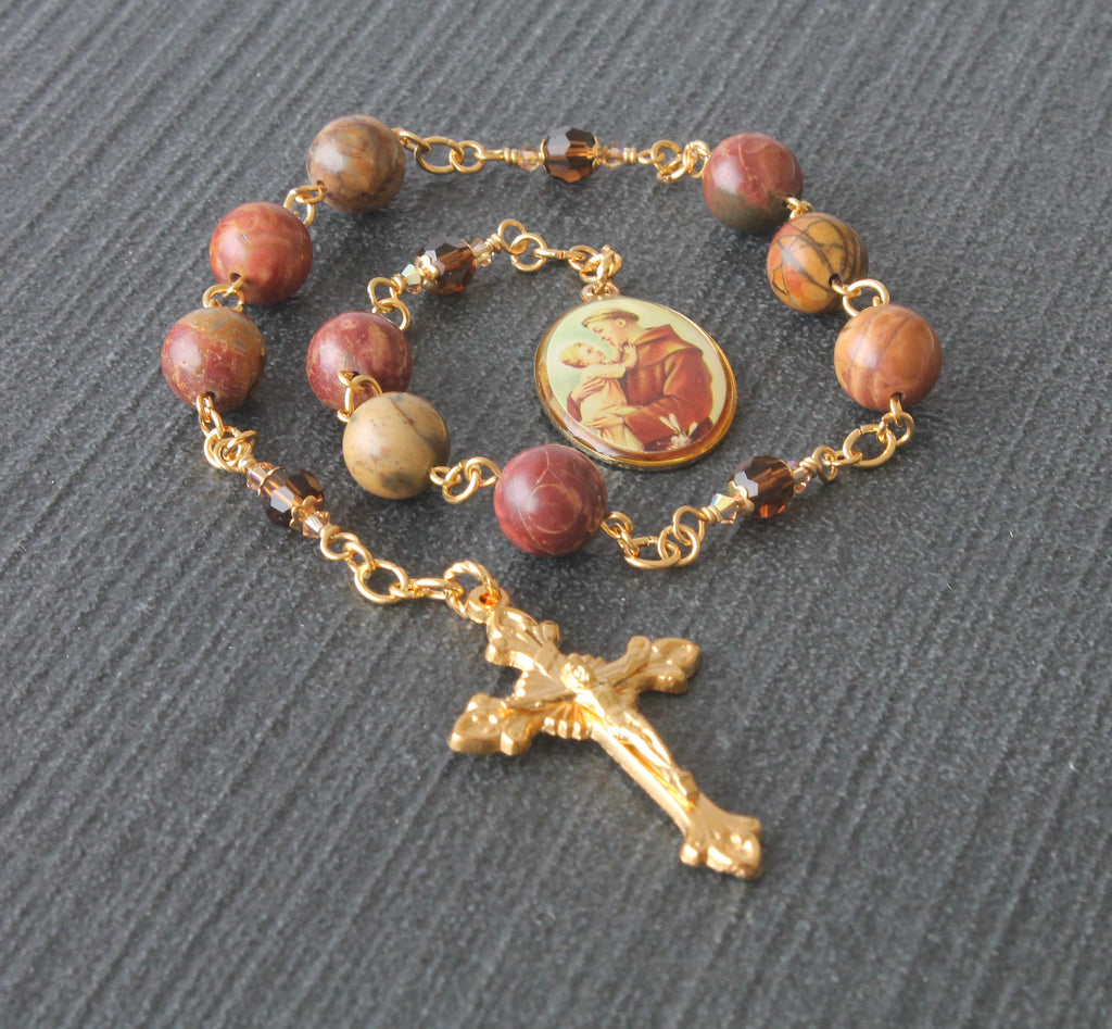 Saint anthony niner chaplet rosary, jasper and gold