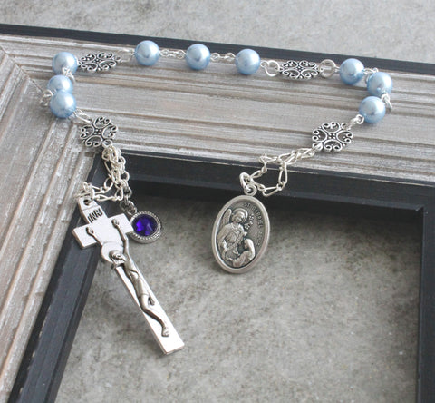 St Gabriel Chaplet, Niner Rosary, Choose Birthstone Colour