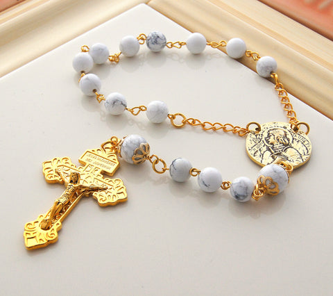 Joan of Arc chaplet rosary white & gold, NZ made