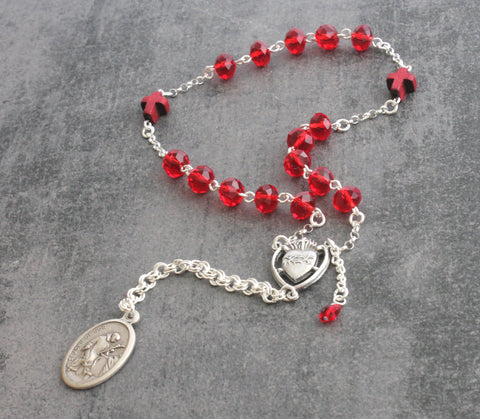 Red chaplet rosary, John of God, New Zealand made
