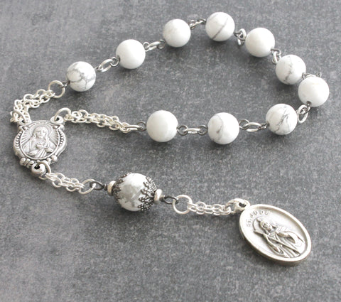 St Jude Pocket Rosary, White Howlite Beads