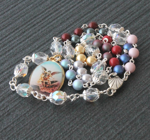New Zealand Catholic St Michael rosary, mixed crystal pearls
