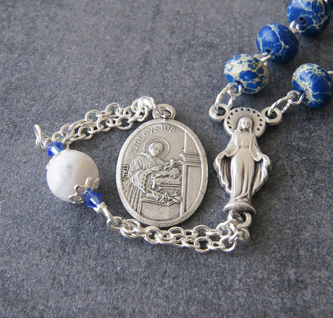 Aloysuis rosary chaplet, handmade saints prayer beads