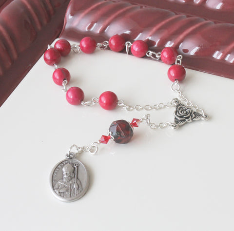 St Augustine Chaplet Pocket Rosary, Patron Saint Prayer Beads