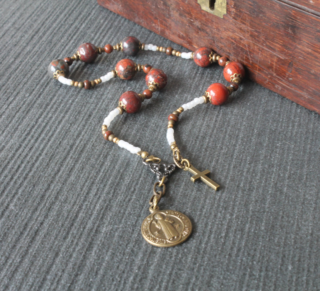 Saint Benedict chaplet rosary Catholic mans prayer beads
