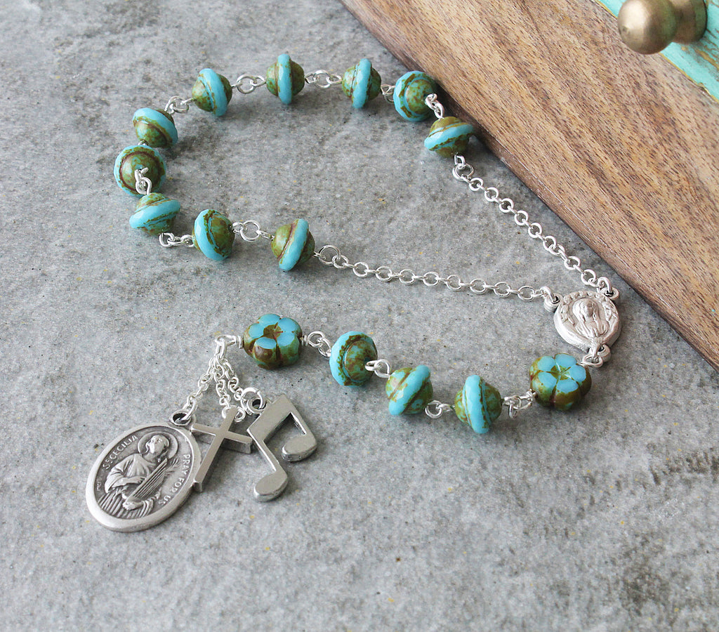 Saint Cecilia chaplet prayer beads, handmade New Zealand