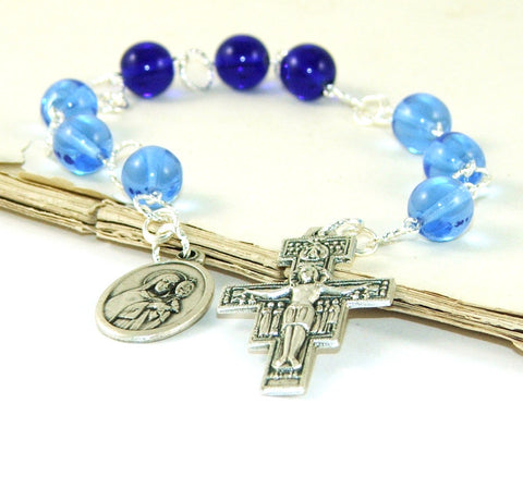 Blue chaplet prayer beads, made in New Zealand