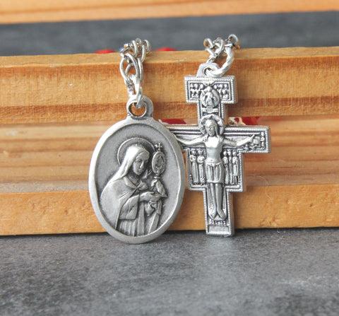 Clare of Assisi chaplet with San Damiano Cross, red crystal beads, handmade Catholic chaplet