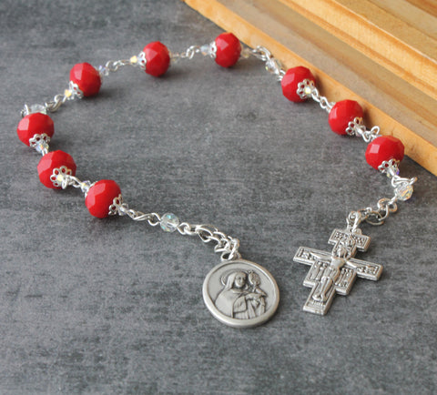 Red bead chaplet of St Clare, New Zealand Catholic shop, handmade rosaries