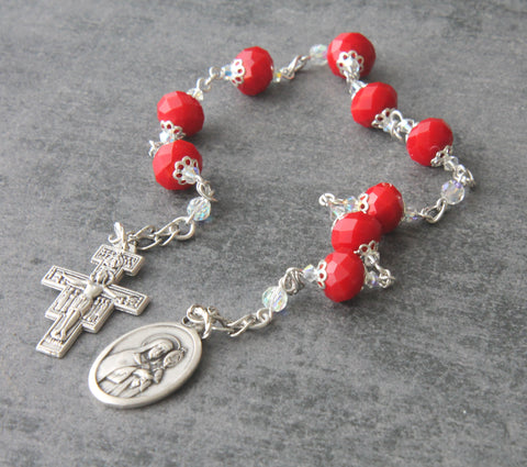 Saint Clare of Assissi niner chaplet rosary, New Zealand made