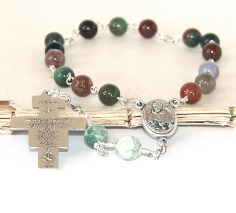 Jasper chaplet prayer beads, St Francis
