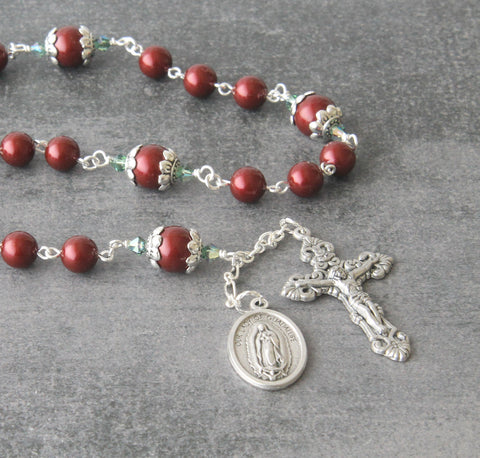 Swarovski rosary Guadalupe, burgundy pearls, rose connector