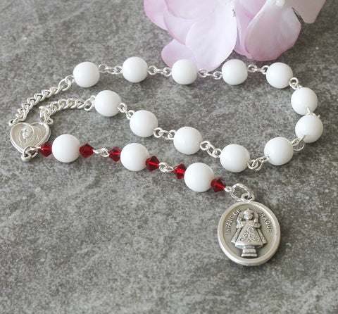 Infant of Prague Pocket Rosary, Handmade Rosary Prayer Beads
