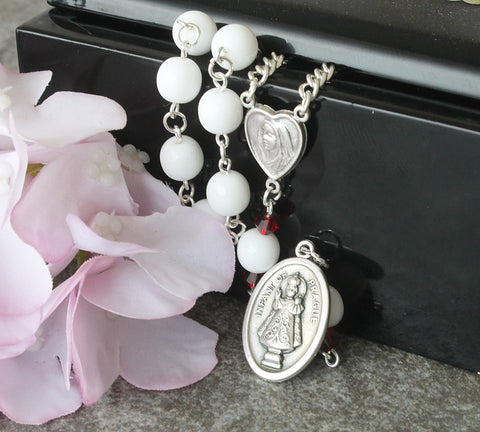 White Infant of prage rosary, handmade in NZ