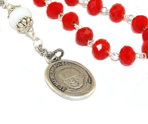 Patron saint prayer beads, St Max Kolbe, addiction recovery