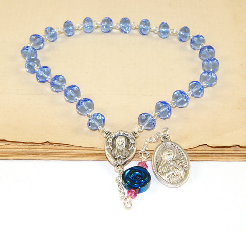 Blue pocket rosary, handmade in New Zealand