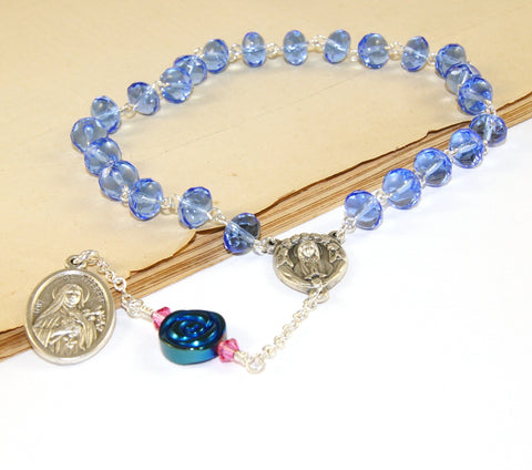 St Therese blue chaplet prayer beads