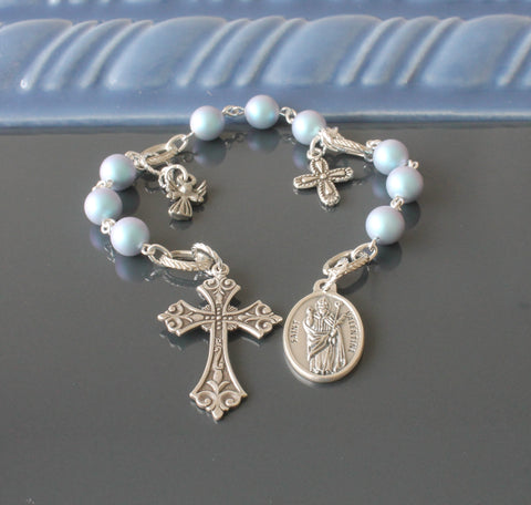 New Zealand catholic saint prayer beads, blue pearls