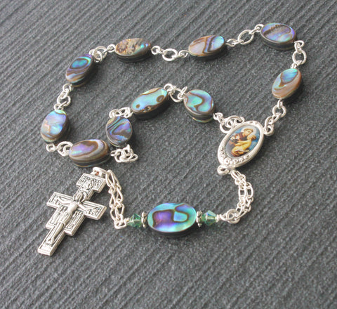 St Anthony Pocket Rosary, NZ Paua Shell Beads