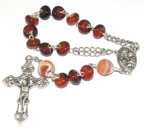 St Joseph Pocket Rosary, Agate Gemstone Beads